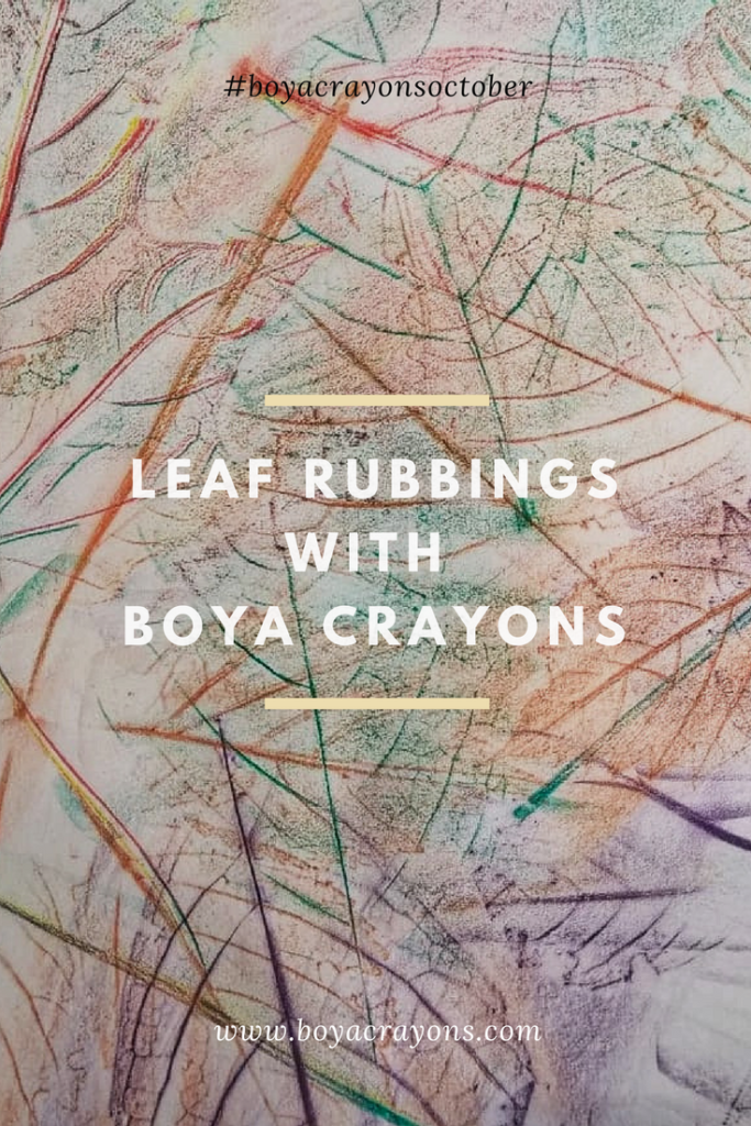 Leaf rubbings with boya crayons